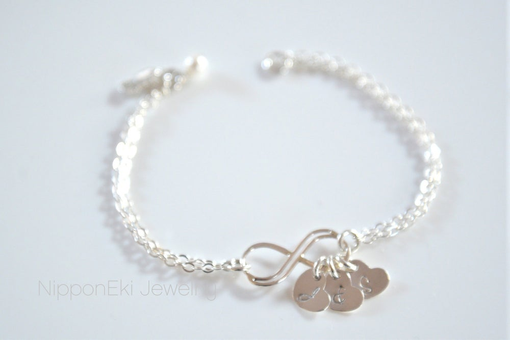 Image of Sterling Silver Double Infinity Bracelet with Dainty Heart Initial Charms