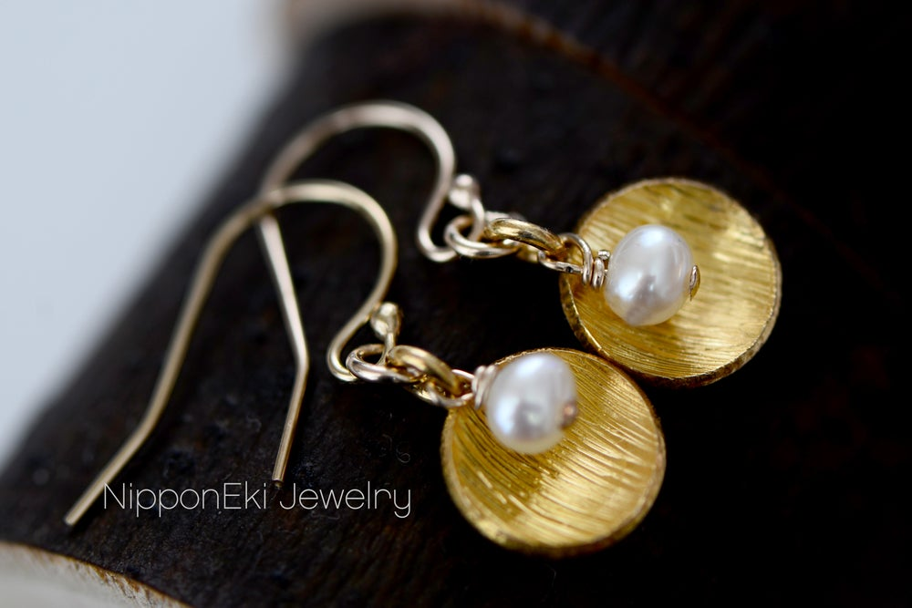 Image of Dainty Fresh Water Pearl Dome Circle Dangling Earring