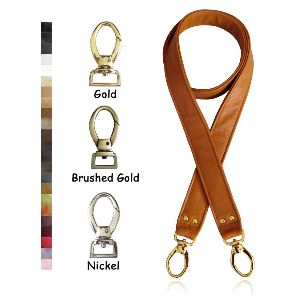 "Image of Crossbody / Messenger Bag Strap - Choose Leather Color - 50"" Length, 1.5"" Wide, #2 Egg-shape Hooks"