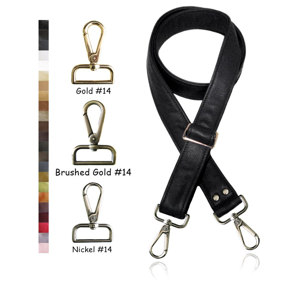 "Image of 55"" (inch) Adjustable Leather Purse Strap - 1.5"" (inch) Wide - Your Choice of Color & Hook #14"