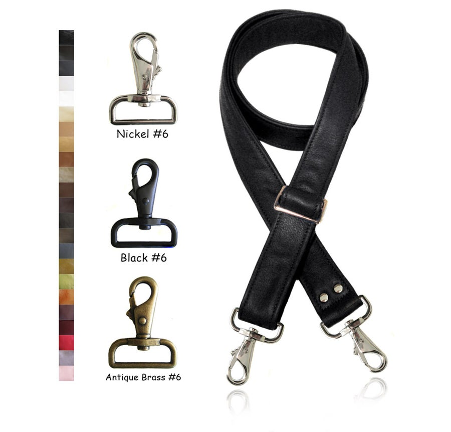 "Image of Adjustable Crossbody Bag Strap - Choose Leather Color - 55"" Maximum Length, 1.5"" Wide, #6 Hooks"