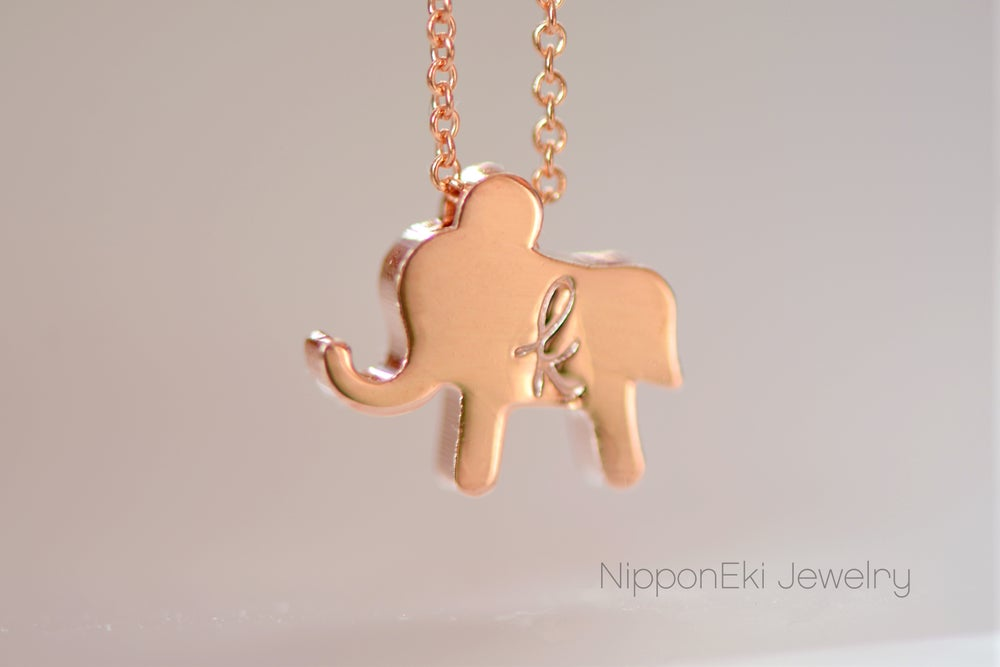Image of Personalize Rose Gold Elephant Necklace