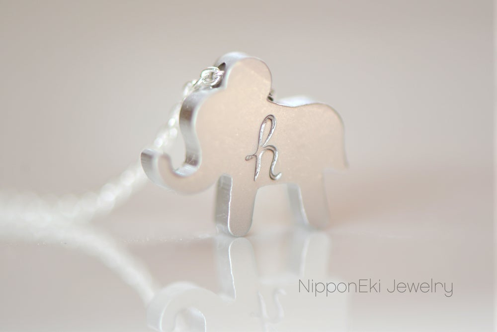 Image of Personalize Silver Elephant Necklace