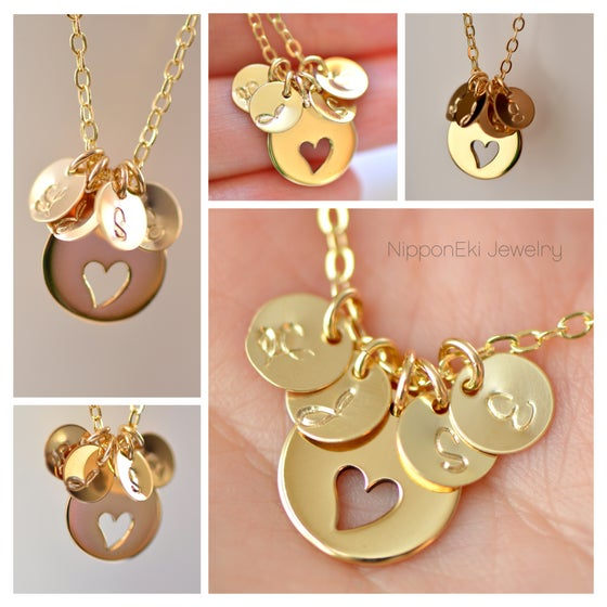 Image of Gold Heart Cutout Personalize Initial Necklace
