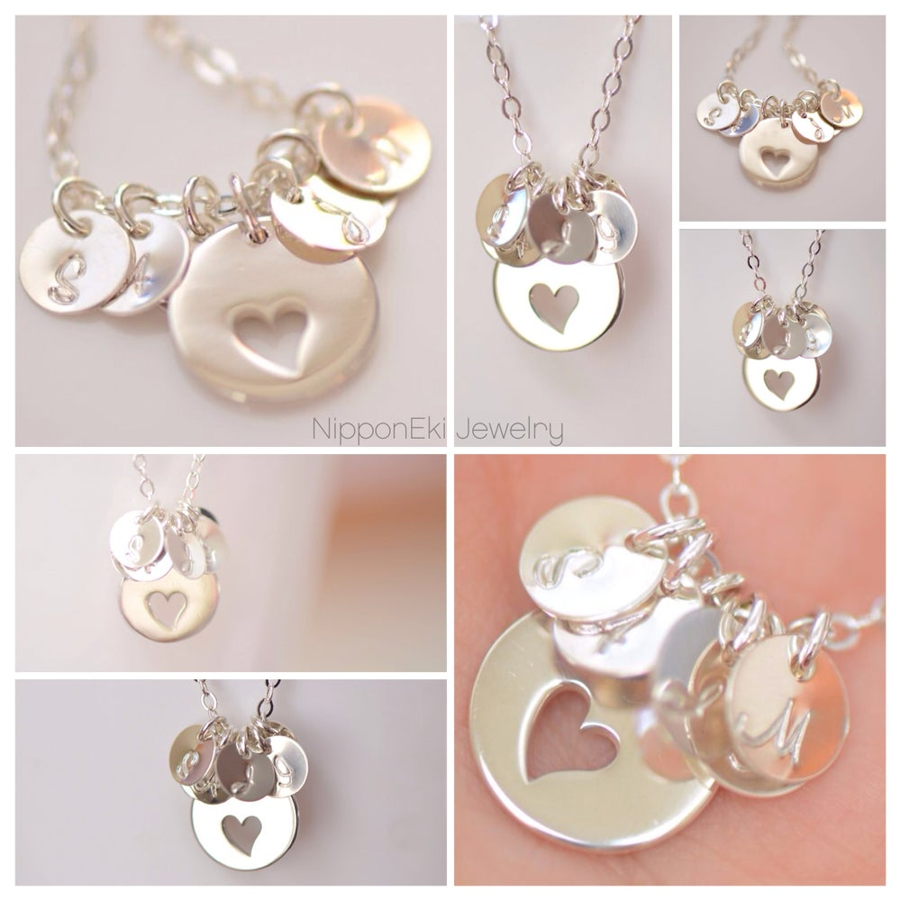 Image of Sterling Silver Heart Cutout Charm Personalized Necklace