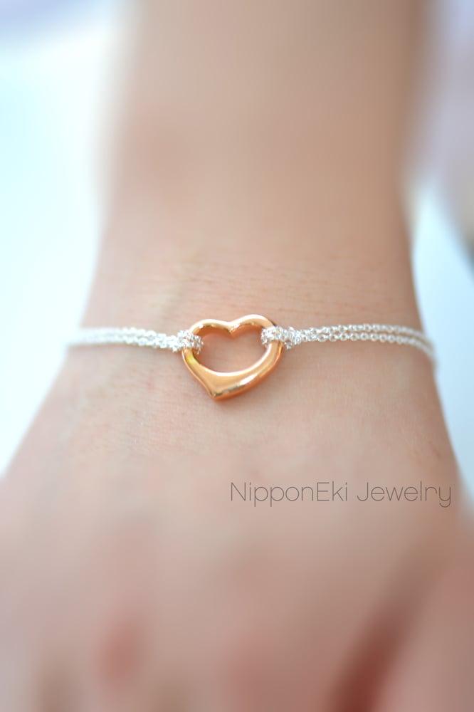 Image of Rose Gold Open Heart Eternity Bracelet