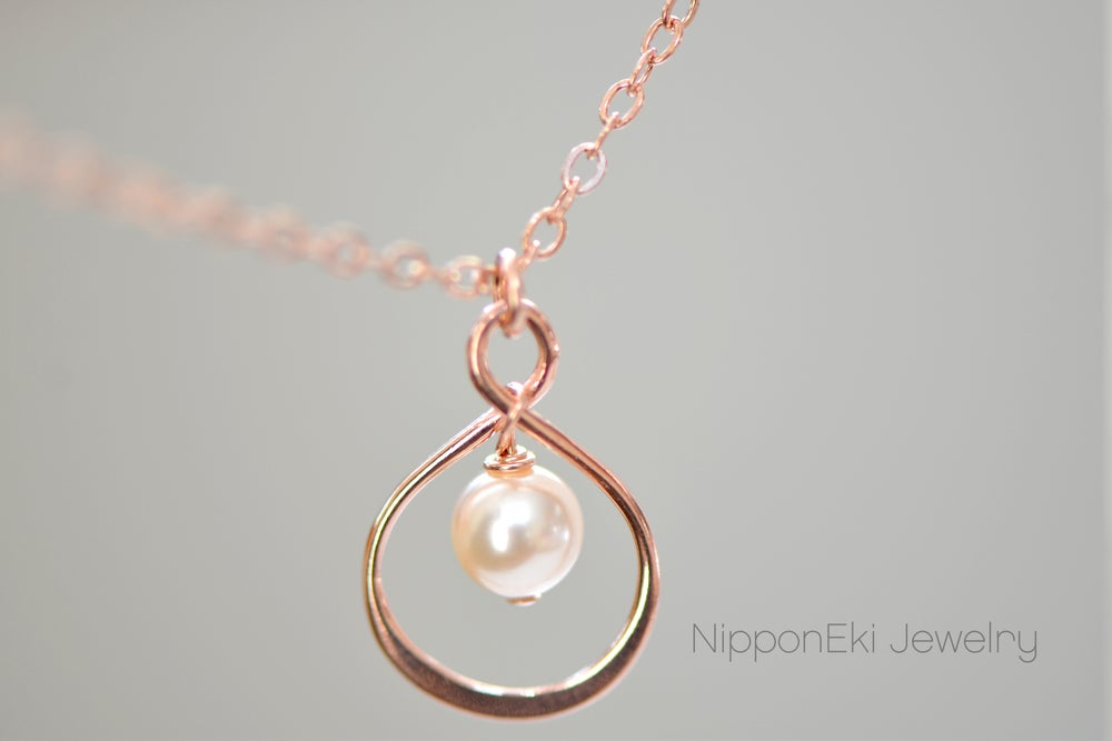 Image of Rose Gold Infinity Pearl Loop Charm Necklace