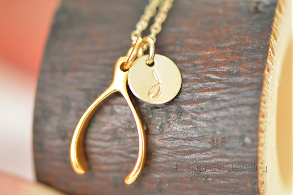 Image of Tiny Gold Wishbone Initial Necklace