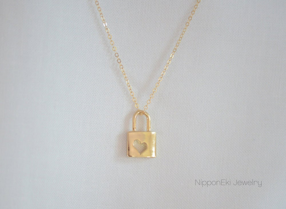 Image of Dainty Gold Heart Cutout Lock Necklace