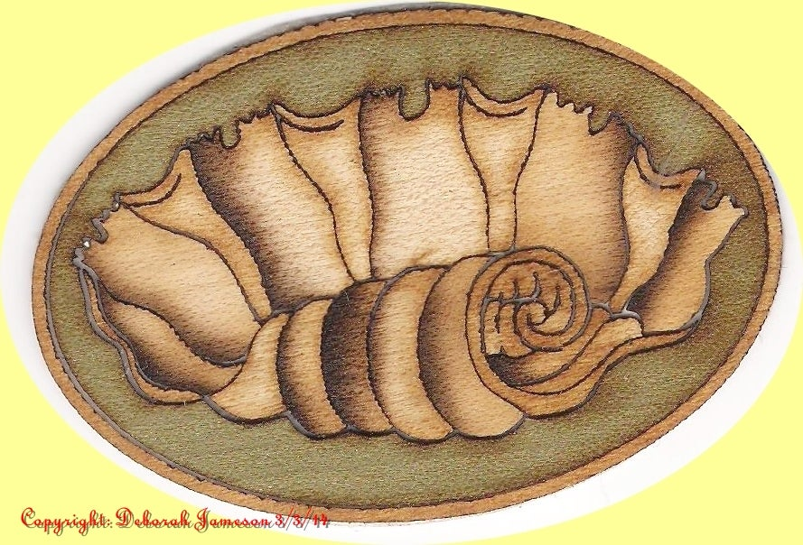 Image of Item No. 195.  Marquetry Inlay Veneer Shell Design.