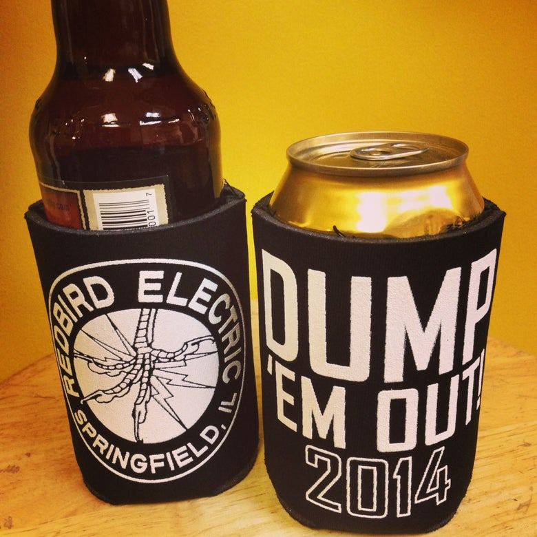 """Image of Redbird Electric """"Dump 'em Out, 2014"""" Can Koozie"""