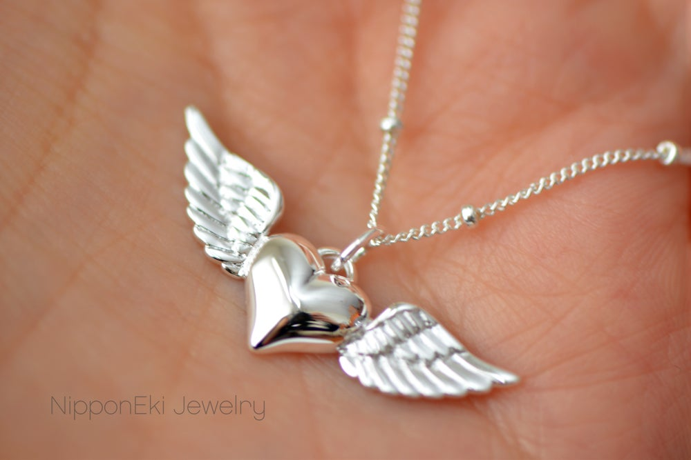 Image of Sterling Silver Heart with Wings Charm Necklace