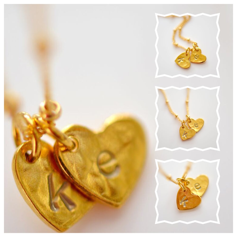 Image of Dainty Gold Vermeil Hammered Heart Initial Necklace