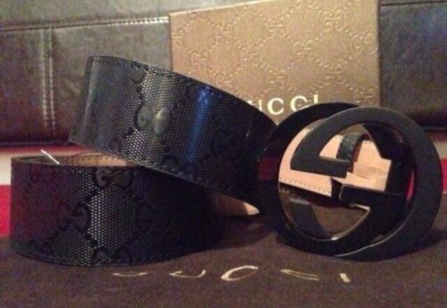 e08005561 Image of *Authentic* Mens Black Gucci Belt. All Black Gucci Belt