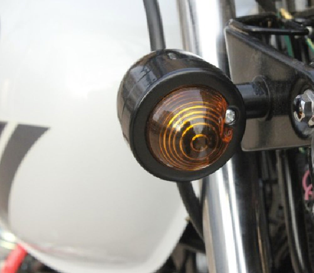Image of Cafe Racer Mini Bullet Indicators Amber Lens - B