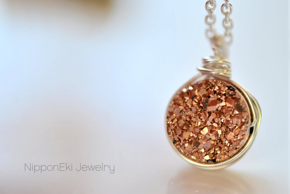 Image of Tiny Rose Gold Druzy Necklace