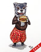 "Image of ""Staffy with a burger"" original painting"