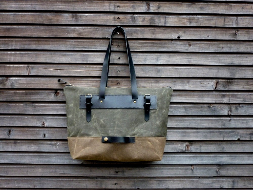 Image of Waxed canvas pannier / bicycle bag with zipper closure / tote bag / bike accessories