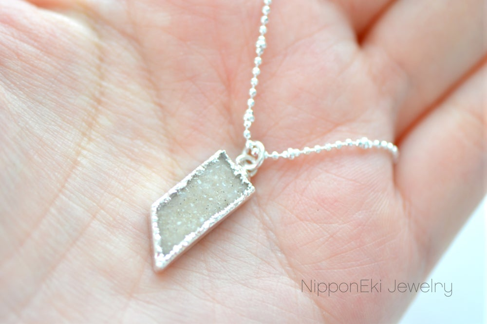 Image of Silver Edged Druzy Necklace