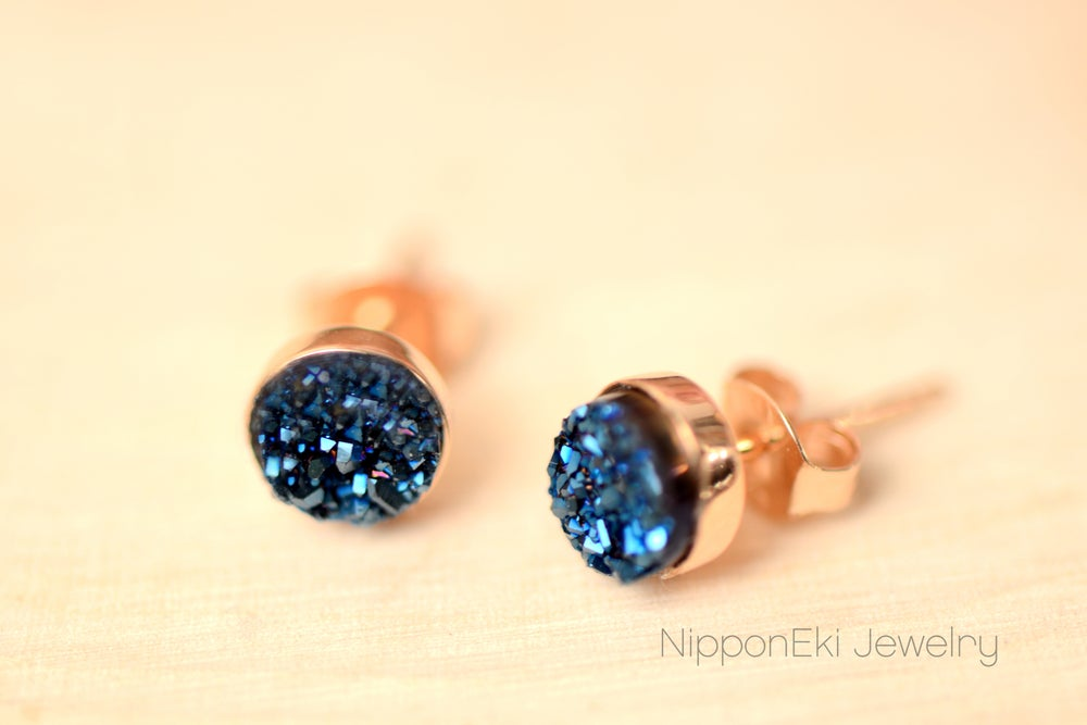 Image of Blue Druzy Studs in 6mm