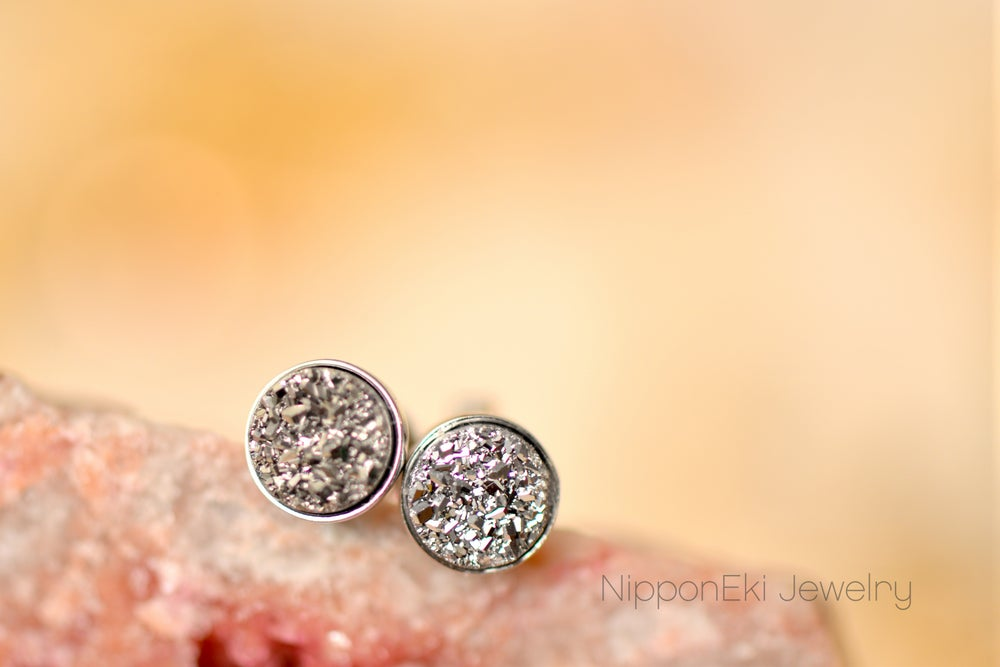 Image of Silver Druzy Studs in 6mm