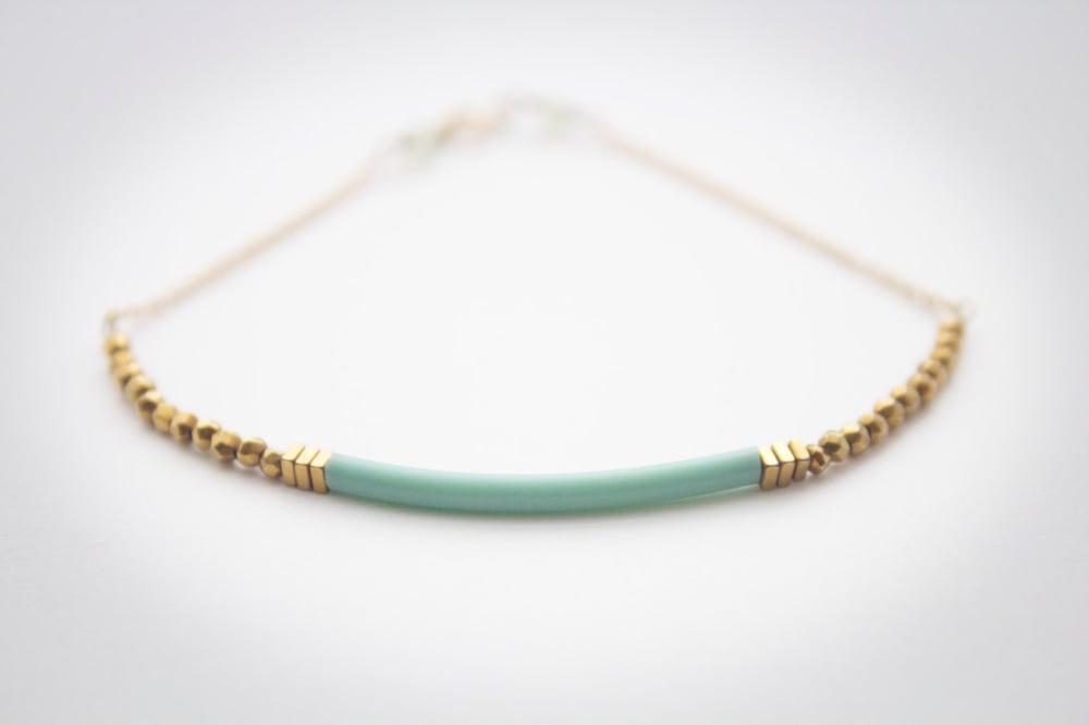 Color Block Gold Bracelet Minimalist Delicate Romantic