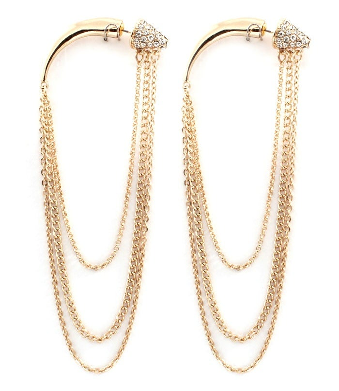 Image of Pave Cone & Tusks Chain Earrings