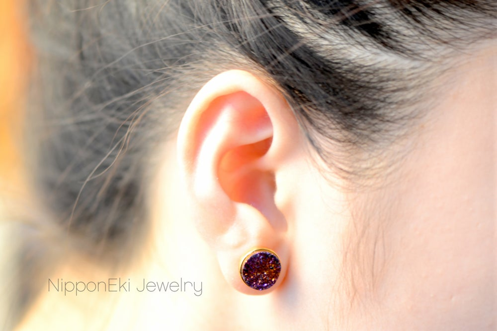 Image of Plum Druzy Studs in 10mm , Plum Druzy Bezel Studs