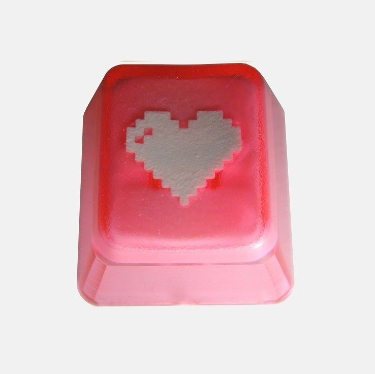 Image of Translucent Pink 8-bit Heart Keycap