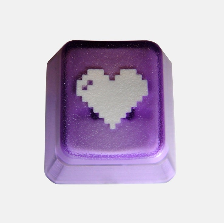 Image of Translucent Purple 8-bit Heart Keycap