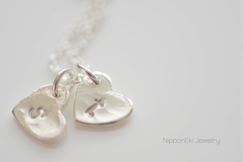 Image of Hammered Heart Initial Necklace, Sterling Silver Heart Initial Necklace , Couple's Necklace
