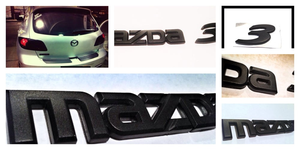 Image of Mazda 3 HATCHBACK Rear JDM BLACKOUT Emblem Set (3)