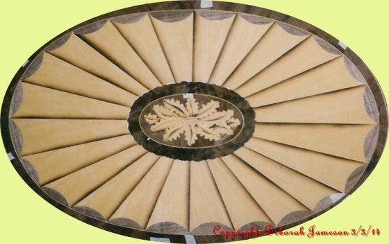 Image of Item No. 396/O. Oval Fan With Floral Centre.  See Also 396/DF Drawers Fronts.