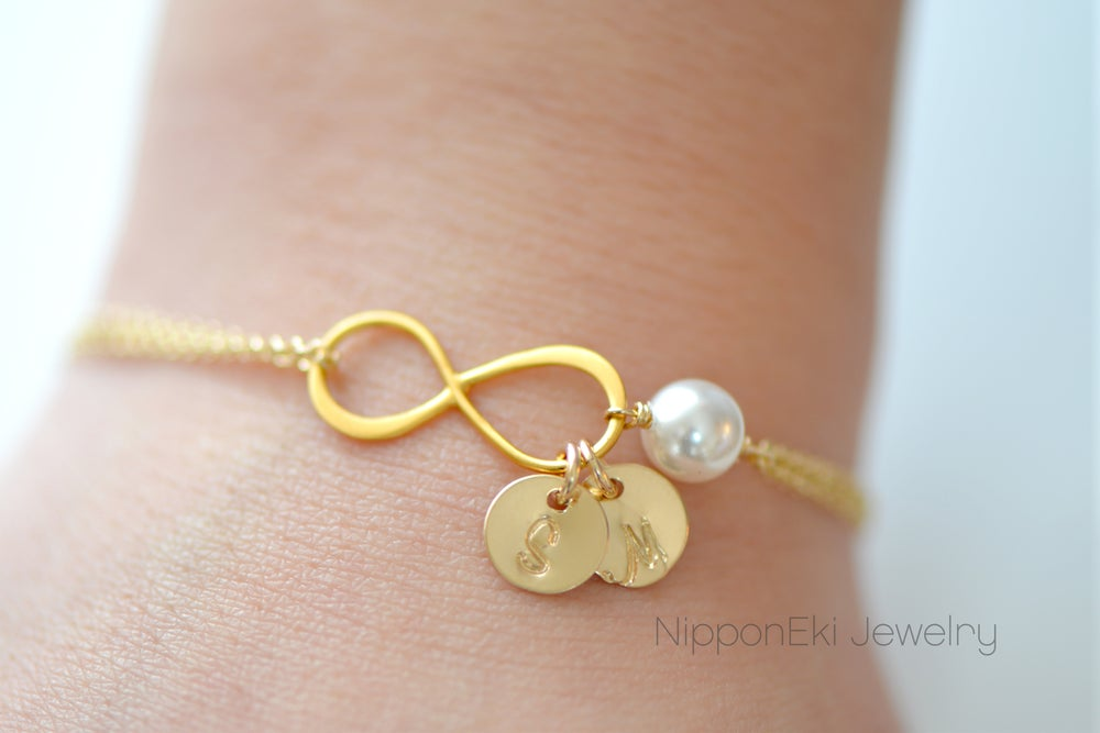 Image of Dainty Gold Infinity Bracelet , Initial Bracelet , Gold Bridesmaids Bracelet, Pearl Bracelet