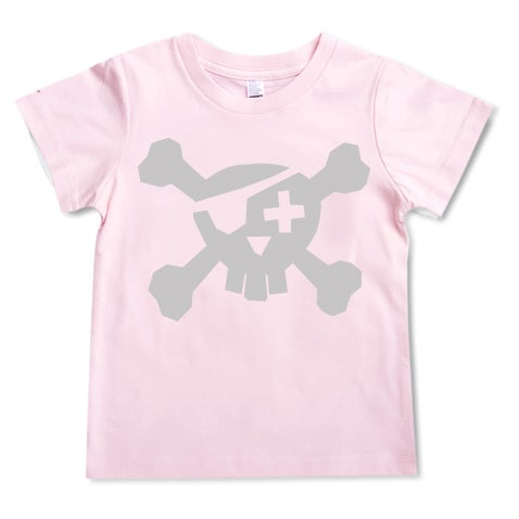 Image of Pirate T-shirt - Silver on Pink