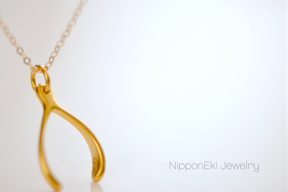 Image of Gold Wishbone Necklace, Good Luck Charm, Tiny Wishbone Charm, Good Luck Necklace