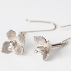 Image of Sterling silver floral pearl drop earrings