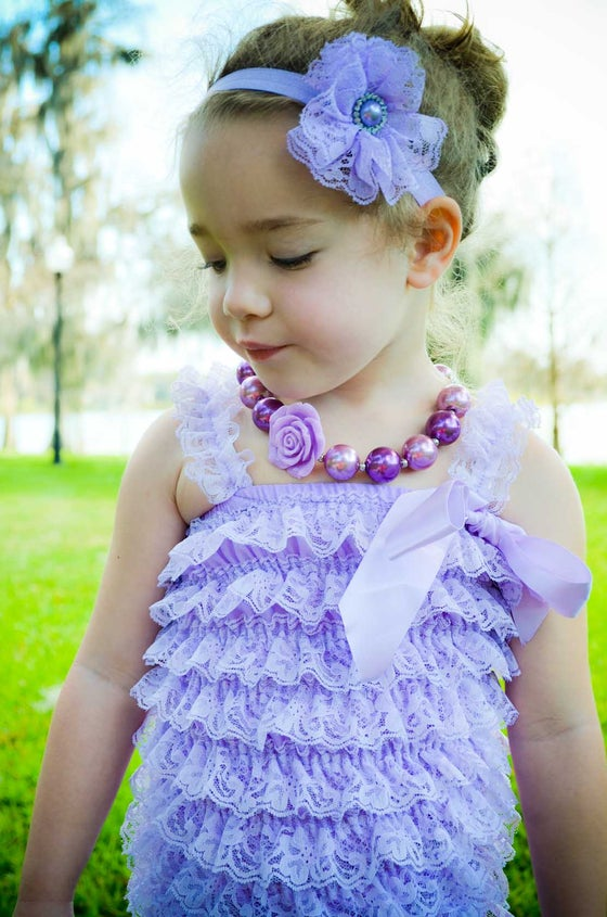Image of Ruffled Frill Lace Romper | Lavender