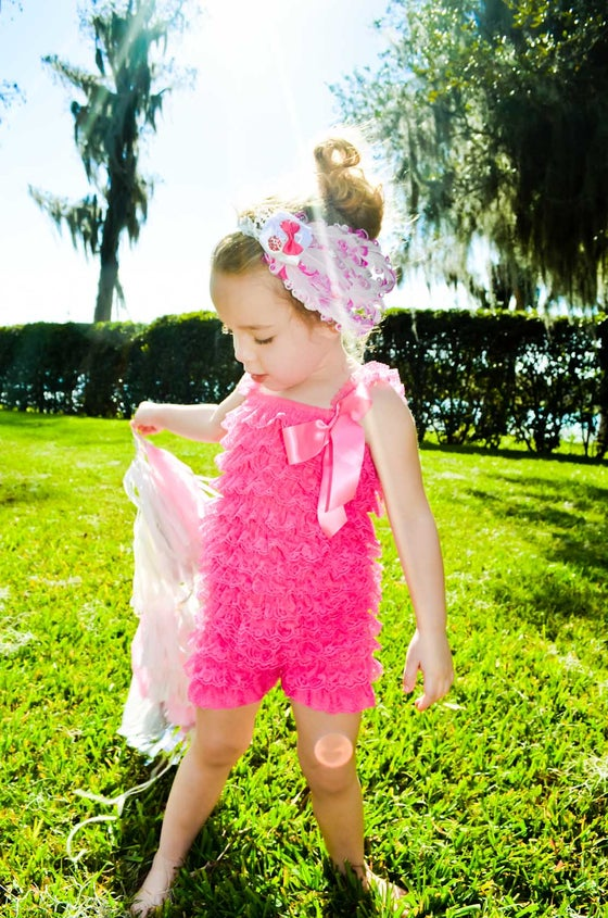 Image of Ruffled Frill Lace Romper | Bubblegum Pink