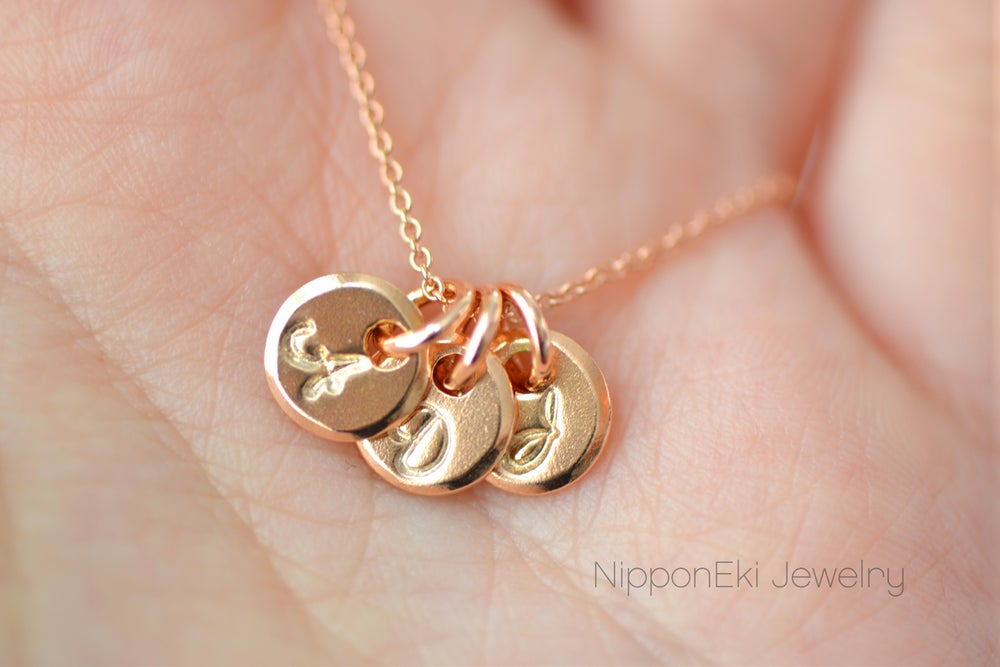 Image of Dainty Rose Gold Initial Necklace
