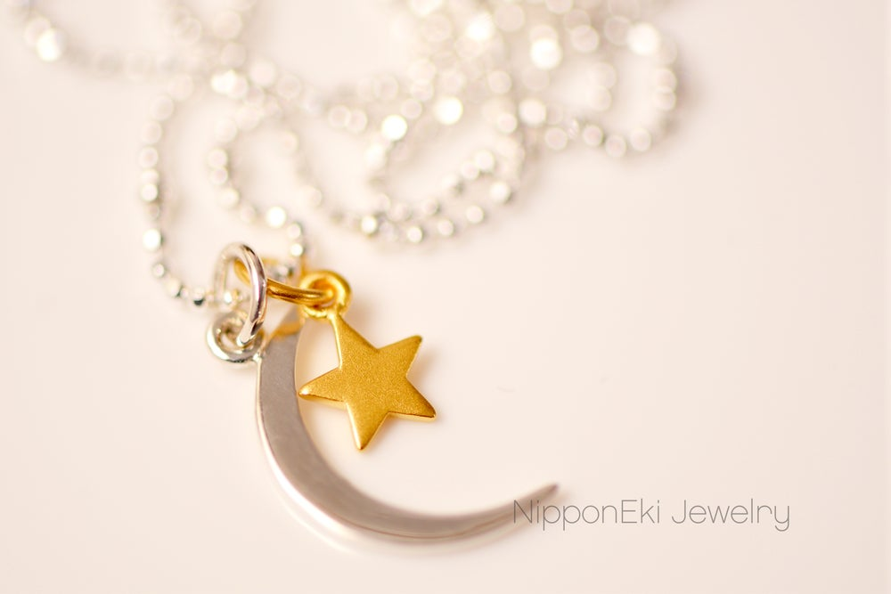 Image of Gold Star with Sterling silver moon Necklace