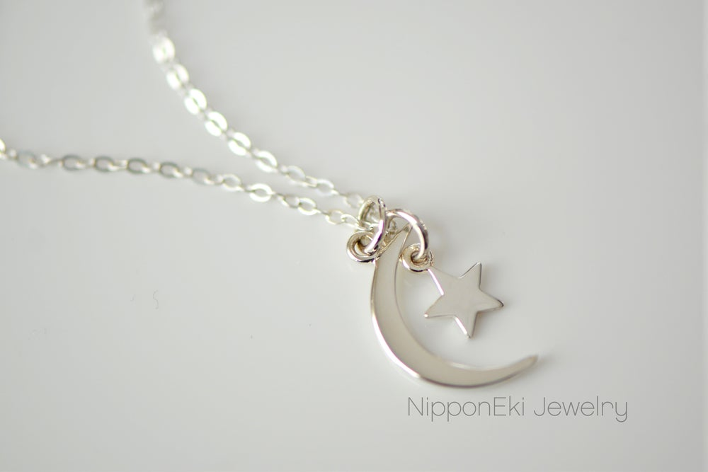Image of Moon and Star Necklace