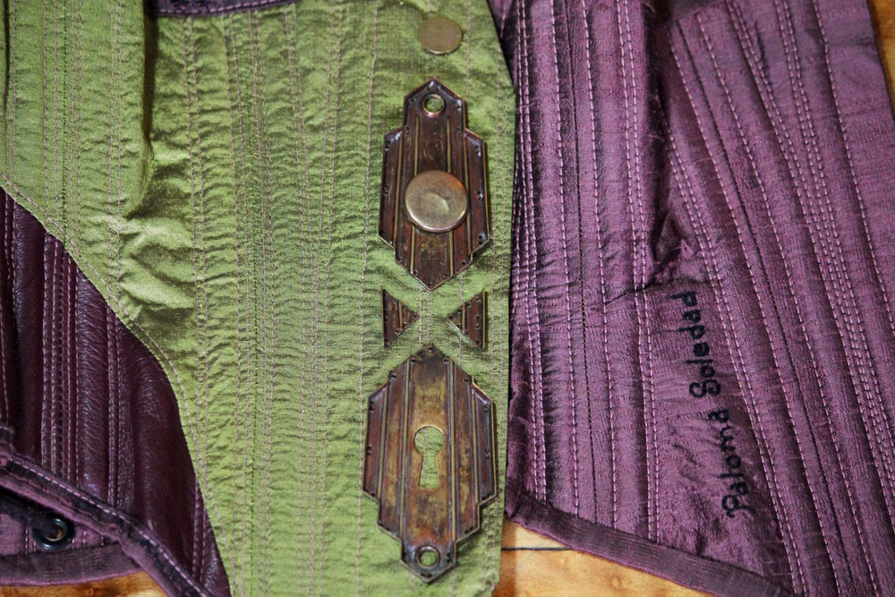 Image of Maroon and Lime Waist Cincher