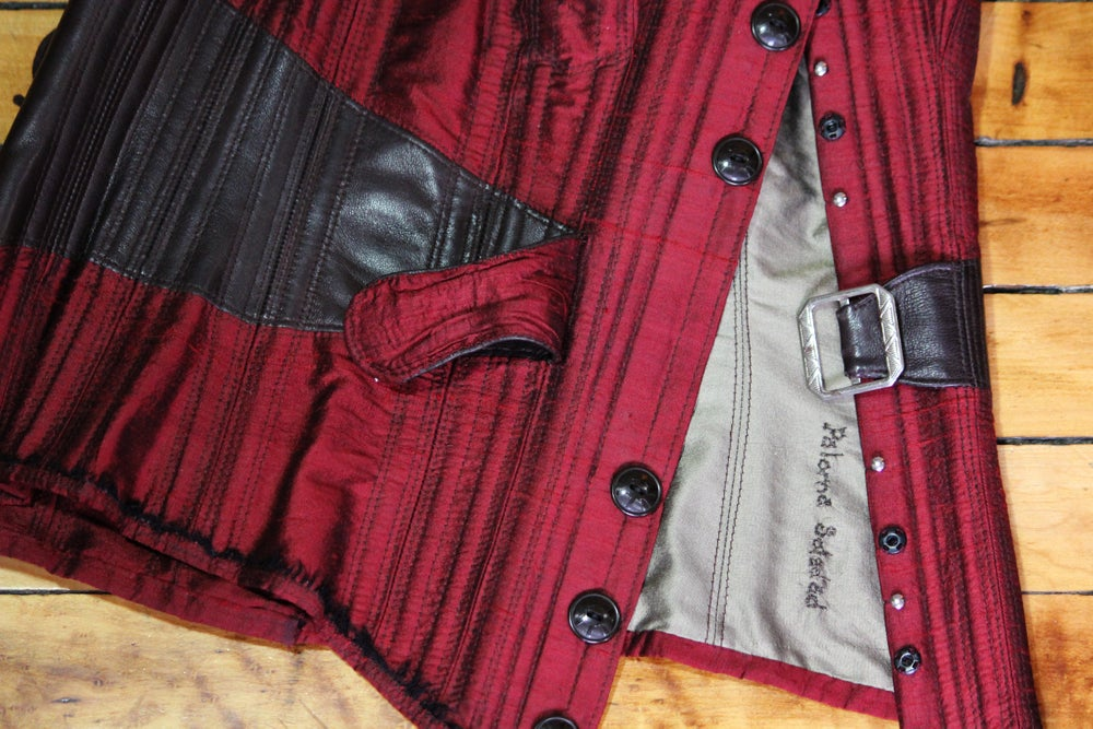 Image of Red and Coffee Overbust Corset