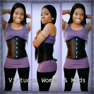 Image of black corset waist training