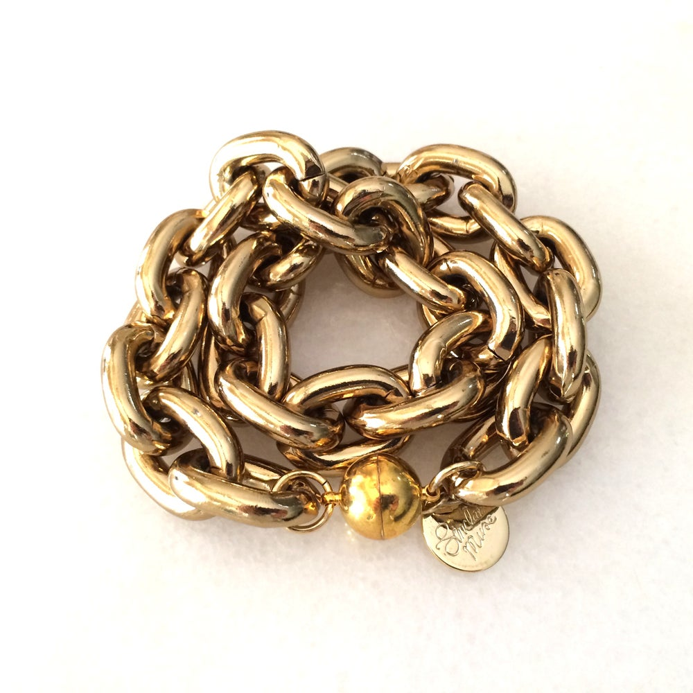 Image of Double Wrap Gold Chunky Chain Bracelet