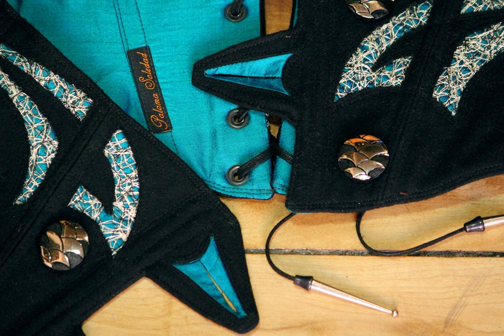 Image of Black Wool with Turquoise Cutout Corseted Belt