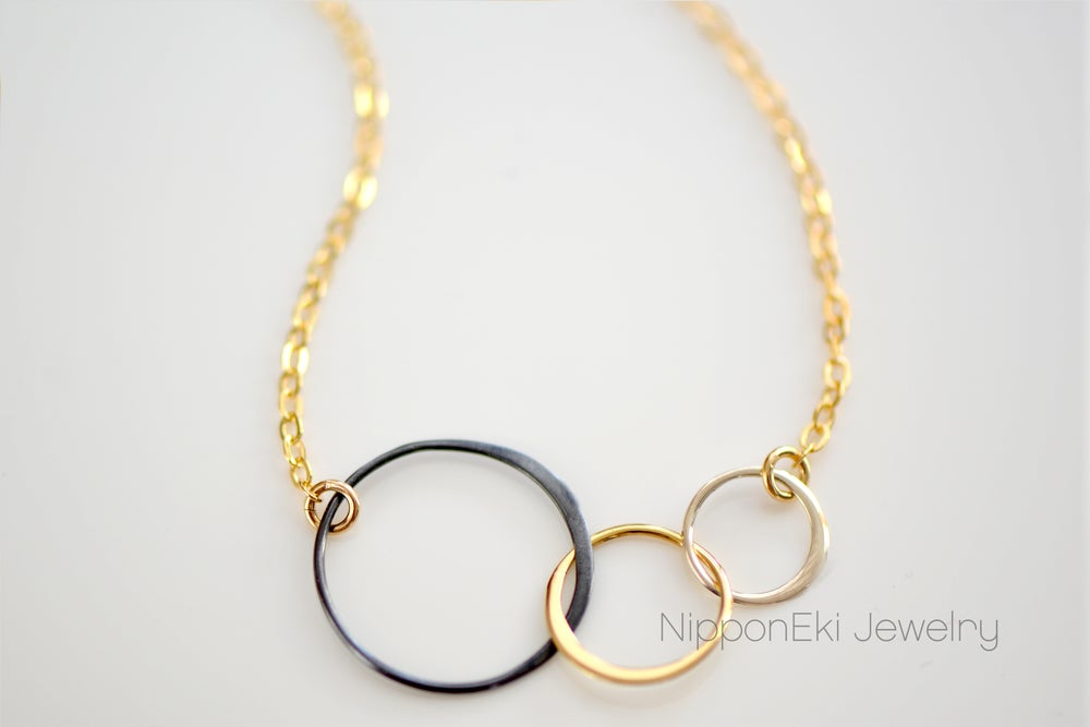 Image of Mixed Metals Circle Necklace - Three Linked Circles Necklace