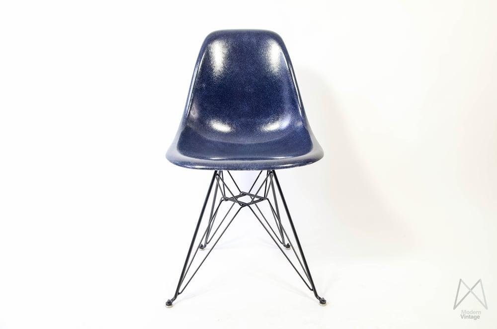 Image of Eames Herman Miller DSR Navy Blue Fiberglass