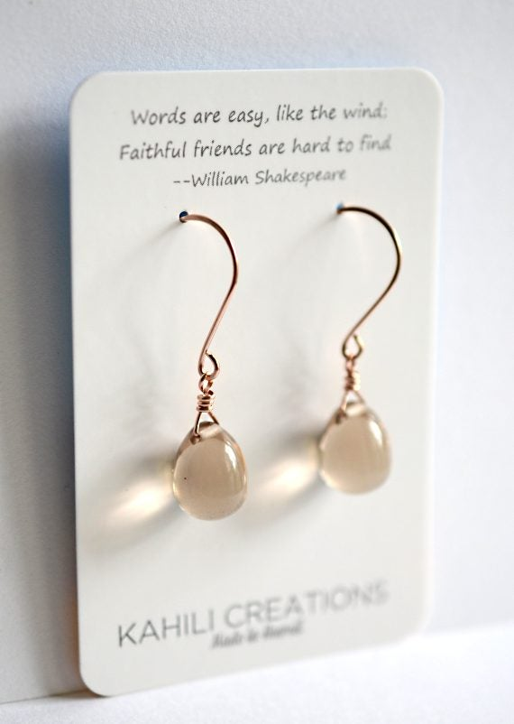 Image of Beige glass drop earrings